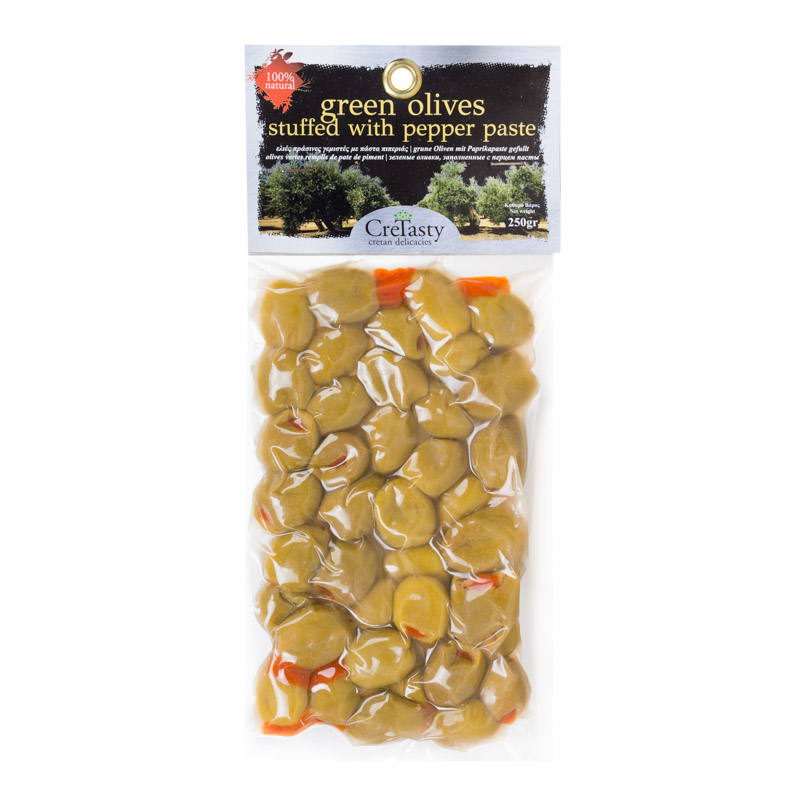 Krétské zelené olivy plněné paprikou 250 g, CreTasty