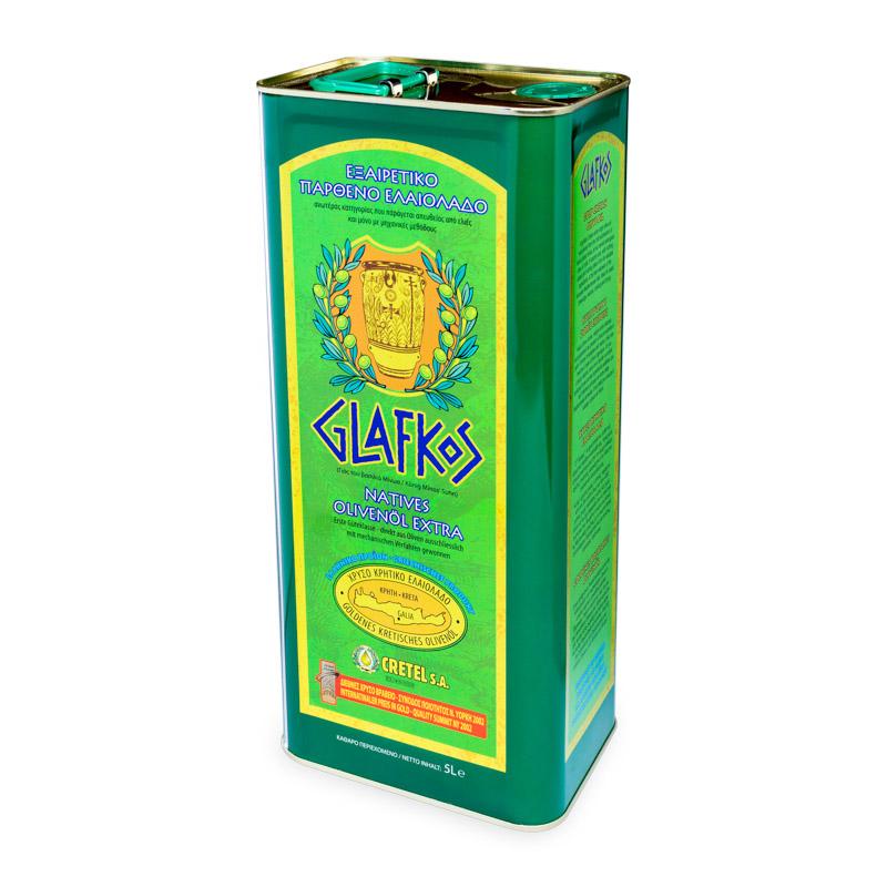 Glafkos Extra panenský olivový olej 5l plech, ORGANIC, Cretel
